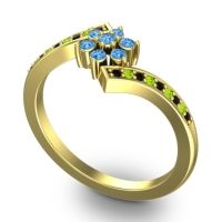 Simple Floral Pave Utpala Swiss Blue Topaz Ring with Black Onyx and Peridot in 14k Yellow Gold