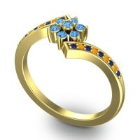 Simple Floral Pave Utpala Swiss Blue Topaz Ring with Blue Sapphire and Citrine in 14k Yellow Gold