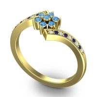 Simple Floral Pave Utpala Swiss Blue Topaz Ring with Diamond and Blue Sapphire in 18k Yellow Gold