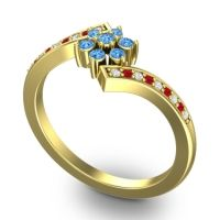 Simple Floral Pave Utpala Swiss Blue Topaz Ring with Diamond and Ruby in 18k Yellow Gold