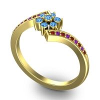 Simple Floral Pave Utpala Swiss Blue Topaz Ring with Garnet and Amethyst in 18k Yellow Gold