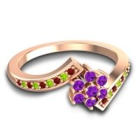 Simple Floral Pave Utpala Amethyst Ring with Garnet and Peridot in 14K Rose Gold