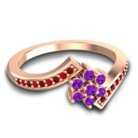 Simple Floral Pave Utpala Amethyst Ring with Garnet and Ruby in 18K Rose Gold