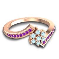 Simple Floral Pave Utpala Aquamarine Ring with Amethyst in 14K Rose Gold
