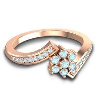 Simple Floral Pave Utpala Aquamarine Ring in 18K Rose Gold