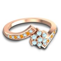 Simple Floral Pave Utpala Aquamarine Ring with Citrine in 14K Rose Gold