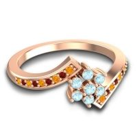 Simple Floral Pave Utpala Aquamarine Ring with Citrine and Garnet in 18K Rose Gold