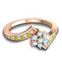 Simple Floral Pave Utpala Aquamarine Ring with Diamond and Peridot in 14K Rose Gold