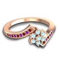 Simple Floral Pave Utpala Aquamarine Ring with Garnet and Amethyst in 14K Rose Gold