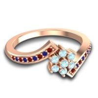 Simple Floral Pave Utpala Aquamarine Ring with Garnet and Blue Sapphire in 14K Rose Gold