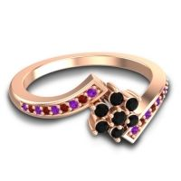 Simple Floral Pave Utpala Black Onyx Ring with Amethyst and Garnet in 18K Rose Gold