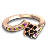 Simple Floral Pave Utpala Black Onyx Ring with Amethyst and Peridot in 18K Rose Gold