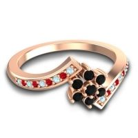 Simple Floral Pave Utpala Black Onyx Ring with Aquamarine and Ruby in 18K Rose Gold