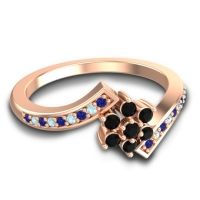 Simple Floral Pave Utpala Black Onyx Ring with Blue Sapphire and Aquamarine in 18K Rose Gold