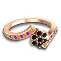 Simple Floral Pave Utpala Black Onyx Ring with Citrine and Amethyst in 14K Rose Gold