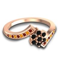 Simple Floral Pave Utpala Black Onyx Ring with Garnet and Citrine in 14K Rose Gold