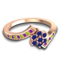 Simple Floral Pave Utpala Blue Sapphire Ring with Amethyst and Peridot in 18K Rose Gold