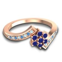 Simple Floral Pave Utpala Blue Sapphire Ring with Aquamarine and Swiss Blue Topaz in 18K Rose Gold