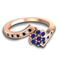 Simple Floral Pave Utpala Blue Sapphire Ring with Black Onyx and Diamond in 14K Rose Gold