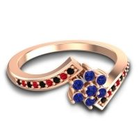 Simple Floral Pave Utpala Blue Sapphire Ring with Black Onyx and Ruby in 18K Rose Gold