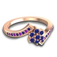 Simple Floral Pave Utpala Blue Sapphire Ring with Amethyst in 18K Rose Gold