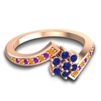 Simple Floral Pave Utpala Blue Sapphire Ring with Citrine and Amethyst in 14K Rose Gold