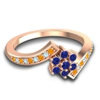 Simple Floral Pave Utpala Blue Sapphire Ring with Citrine and Aquamarine in 18K Rose Gold