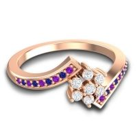 Simple Floral Pave Utpala Diamond Ring with Amethyst and Blue Sapphire in 14K Rose Gold