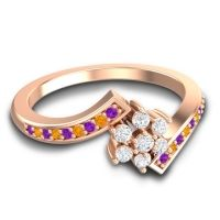 Simple Floral Pave Utpala Diamond Ring with Amethyst and Citrine in 18K Rose Gold