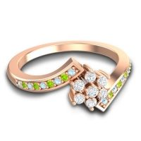 Simple Floral Pave Utpala Diamond Ring with Aquamarine and Peridot in 14K Rose Gold