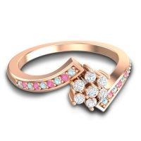 Simple Floral Pave Utpala Diamond Ring with Aquamarine and Pink Tourmaline in 18K Rose Gold