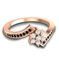 Simple Floral Pave Utpala Diamond Ring with Black Onyx in 14K Rose Gold