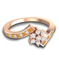 Simple Floral Pave Utpala Diamond Ring with Citrine and Aquamarine in 14K Rose Gold