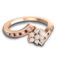 Simple Floral Pave Utpala Diamond Ring with Garnet in 18K Rose Gold