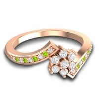 Simple Floral Pave Utpala Diamond Ring with Peridot in 18K Rose Gold