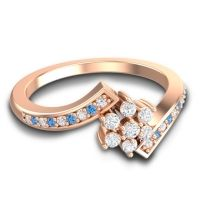 Simple Floral Pave Utpala Diamond Ring with Swiss Blue Topaz in 18K Rose Gold
