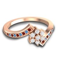 Simple Floral Pave Utpala Diamond Ring with Garnet and Swiss Blue Topaz in 14K Rose Gold