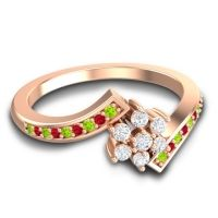 Simple Floral Pave Utpala Diamond Ring with Peridot and Ruby in 18K Rose Gold