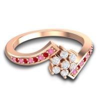 Simple Floral Pave Utpala Diamond Ring with Pink Tourmaline and Ruby in 18K Rose Gold