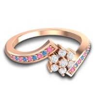 Simple Floral Pave Utpala Diamond Ring with Pink Tourmaline and Swiss Blue Topaz in 18K Rose Gold