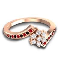 Simple Floral Pave Utpala Diamond Ring with Ruby and Black Onyx in 14K Rose Gold
