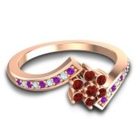 Simple Floral Pave Utpala Garnet Ring with Amethyst and Aquamarine in 18K Rose Gold