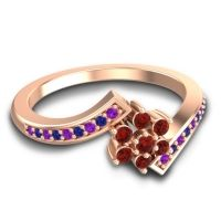 Simple Floral Pave Utpala Garnet Ring with Amethyst and Blue Sapphire in 18K Rose Gold