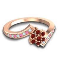 Simple Floral Pave Utpala Garnet Ring with Aquamarine and Pink Tourmaline in 18K Rose Gold