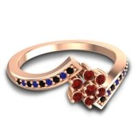 Simple Floral Pave Utpala Garnet Ring with Black Onyx and Blue Sapphire in 18K Rose Gold
