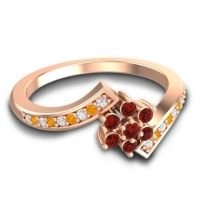 Simple Floral Pave Utpala Garnet Ring with Diamond and Citrine in 14K Rose Gold