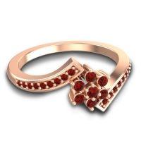 Simple Floral Pave Utpala Garnet Ring in 14K Rose Gold