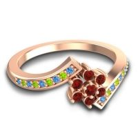 Simple Floral Pave Utpala Garnet Ring with Swiss Blue Topaz and Peridot in 14K Rose Gold