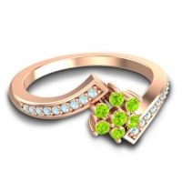 Simple Floral Pave Utpala Peridot Ring with Aquamarine in 18K Rose Gold