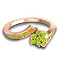 Simple Floral Pave Utpala Peridot Ring with Citrine in 18K Rose Gold